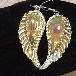 Jewelry - Peacock type angle earrings.